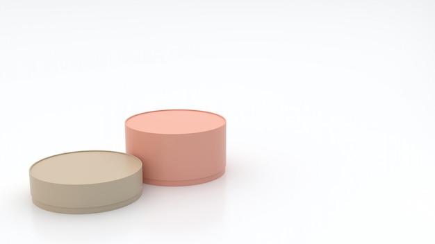 2e scatole cilindriche di varie dimensioni, colori pastello sul pavimento e sfondo bianco, semi-lucide, con riflessi, concetti, confezione regalo, rendering 3d