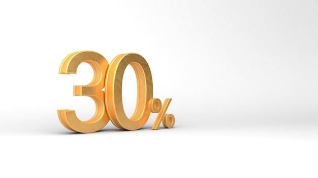 30 numeri d'oro con percentuale. rendering 3d, 3d, illustrazione 3d.