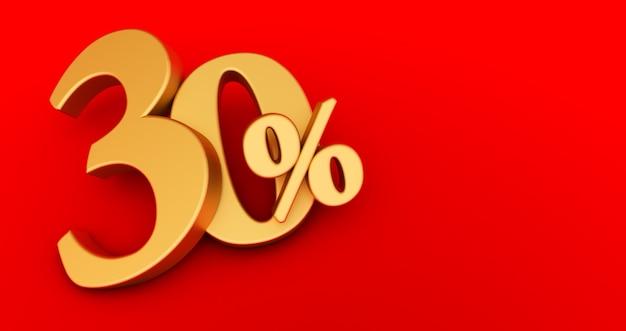 30% di sconto. oro al trenta percento. oro trenta per cento su sfondo rosso. rendering 3d.