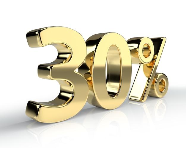 Simbolo blu del 30 percento isolato su priorità bassa bianca. rendering 3d
