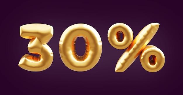 Illustrazione dorata del pallone 3d del 30 percento. 3d golden trenta per cento illustrazione palloncino. palloncini dorati al 30%