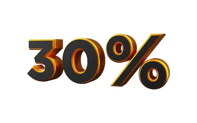 Illustrazione 3d dorata del 30 per cento. illustrazione dorata del trenta per cento 3d.