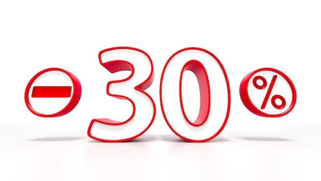 Simbolo rosso del 30 percento isolato su priorità bassa bianca. rendering 3d