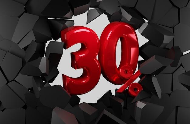 Idea di venerdì nero di vendita del 30 percento nella rappresentazione 3d