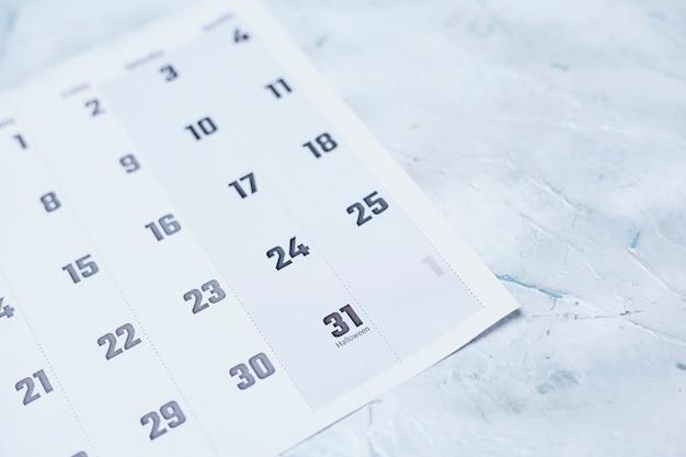 31 ottobre. halloween. calendario mensile ottobre 2020