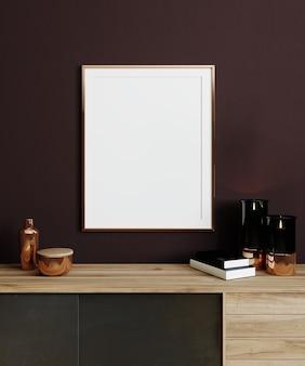 331. mock up poster nell'interno del soggiorno in stile moderno con comò e decorazioni in legno, rendering 3d