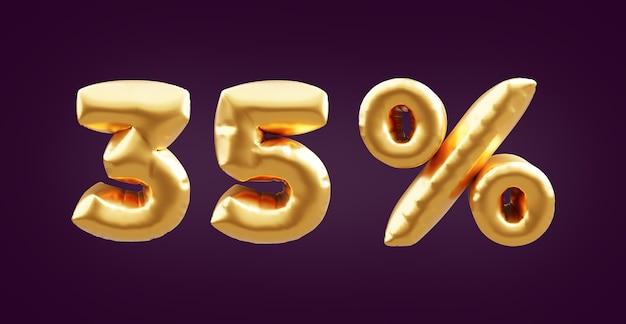 Illustrazione dorata del pallone 3d del 35 percento. 3d golden trentacinque per cento illustrazione palloncino. 35% palloncini dorati