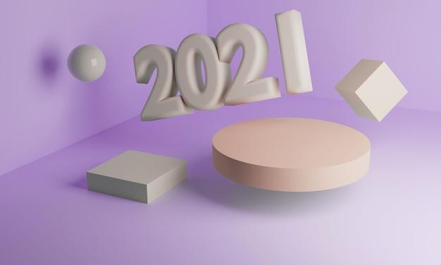 3d 2021, il nuovo anno in arrivo. forme geometriche: podio, cubo, cilindro, sfera. nell'angolo tridimensionale.