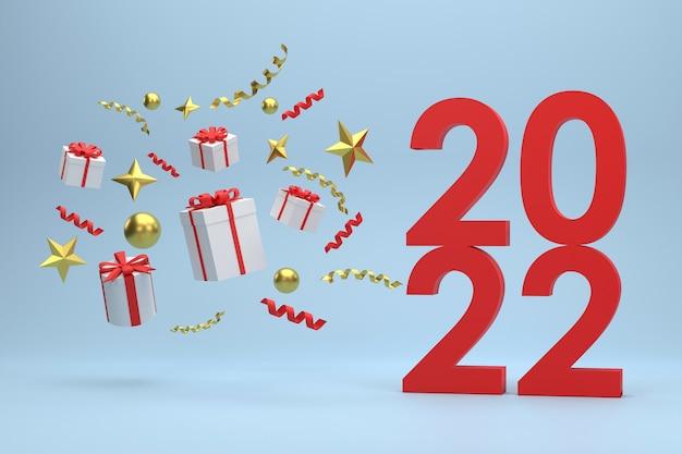 3d. 2022 confezioni regalo e palline dorate celebrazioni di natale su sfondo blu.