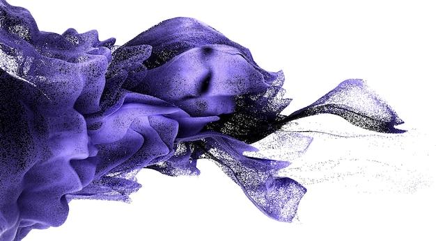 Sfondo 3d astratto 3d di spruzzi di fuoco di fumo di colore ondulato surreale in movimento, basato su particelle di piccole sfere metalliche in colore sfumato viola e nero