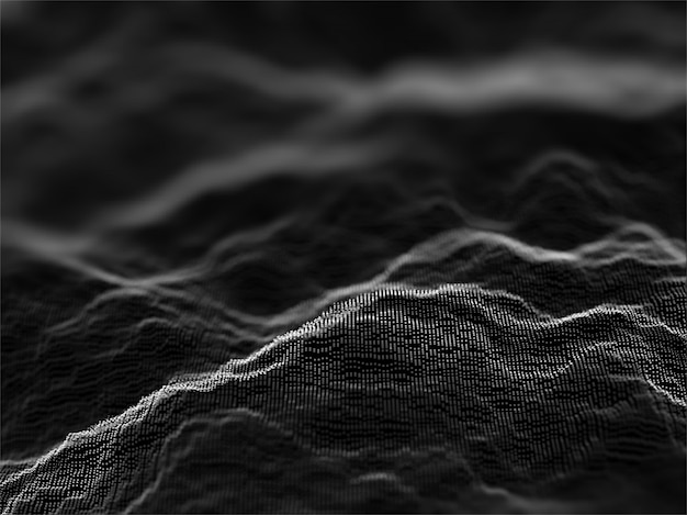 Fondo astratto 3d delle particelle cyber scorrenti con profondità di campo bassa