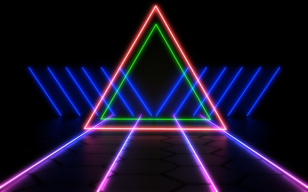 Sfondo astratto 3d con luci al neon. illustrazione 3d 3
