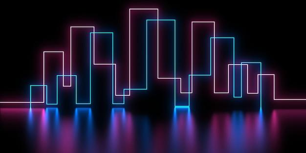 Sfondo astratto 3d con luci al neon .. illustrazione 3d
