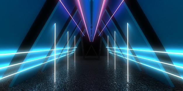 Sfondo astratto 3d con luci al neon. tunnel al neon. .costruzione spaziale . .3d illustrazione33