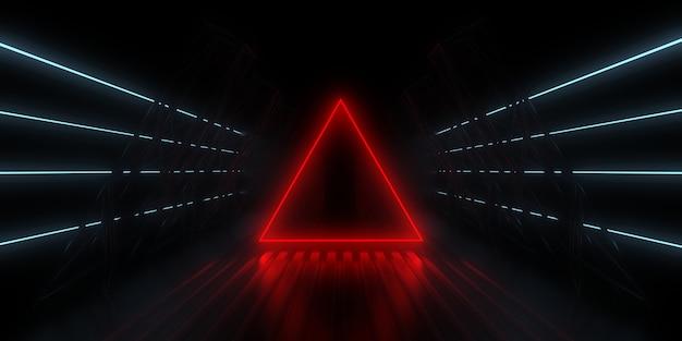 Sfondo astratto 3d con luci al neon. tunnel al neon. costruzione dello spazio. illustrazione 3d 3