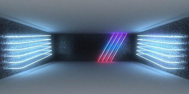 Sfondo astratto 3d con luci al neon. neon tunnel .space costruzione. illustrazione 3d
