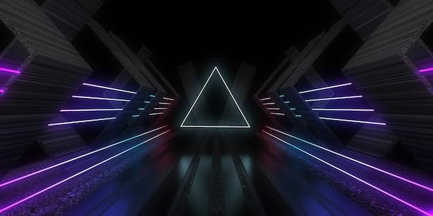 Sfondo astratto 3d con luci al neon.