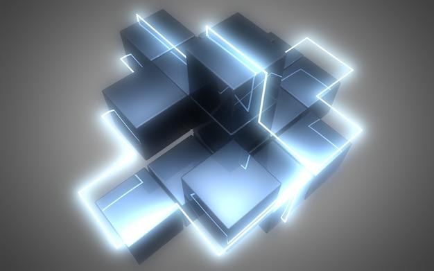 Fondo astratto dei cubi 3d con le luci al neon. illustrazione 3d