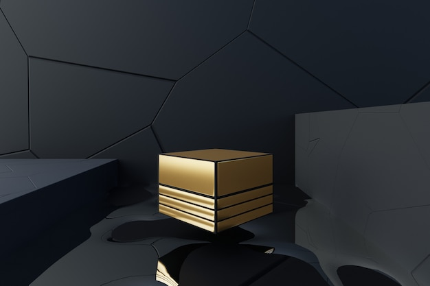 Scena astratta di progettazione 3d con il galleggiamento della scatola dorata.