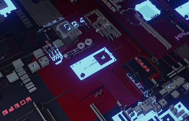 Estratto 3d del circuito elettronico e del concetto digitale della scheda madre