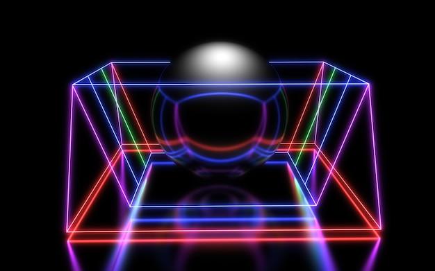 Fondo geometrico astratto 3d con luci al neon. illustrazione 3d