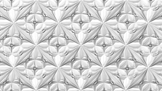 Trasformazione geometrica astratta del caleidoscopio 3d. distorsione frattale della superficie bianca. illustrazione di rendering 3d.
