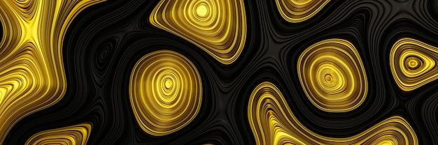 Oro astratto 3d su sfondo nero