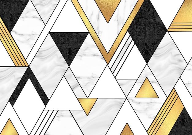 Carta da parati murale in marmo astratto 3d sfondo in marmo bianco e nero dorato di arte moderna