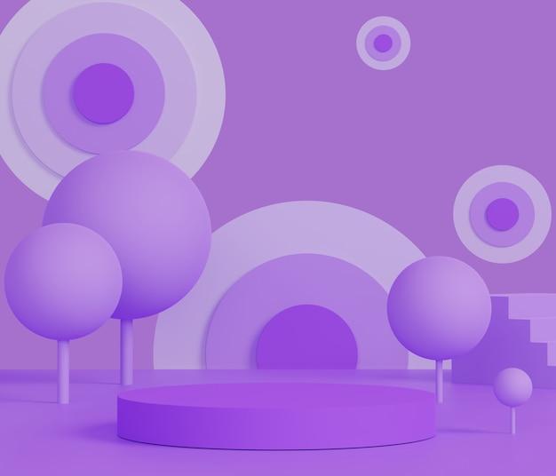 Forme geometriche minime astratte 3d. podio viola di lusso lucido per il tuo design. palco sfilata di moda, piedistallo, vetrina nello spazio e tema galassia.
