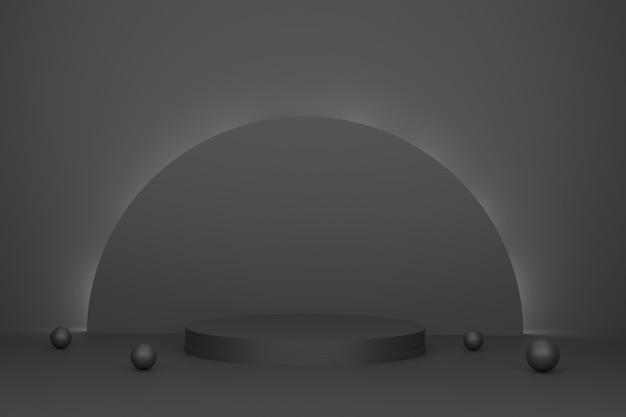 Sfondo scena astratta 3d podio cilindrico su sfondo nero luce presentazione del prodotto
