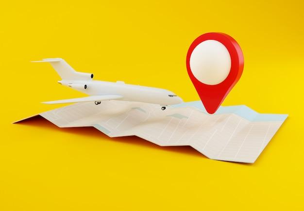 Aeroplano 3d con la mappa del mondo