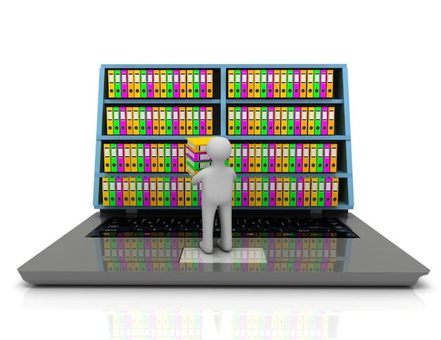 Concetto di archivio 3d. computer portatile e file su sfondo bianco isolato