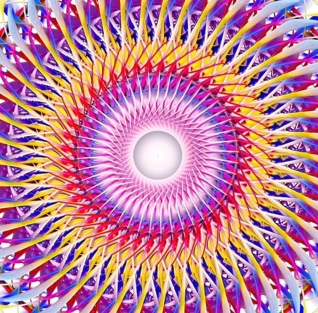 Motore a turbina surreale astratto di arte 3d o fiore del sole nel modello a spirale nel colore giallo e viola