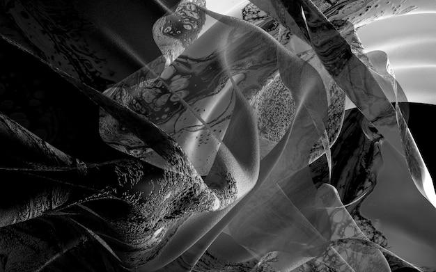 Fondo in bianco e nero di arte 3d con drappi o coperta con il modello organico su superficie