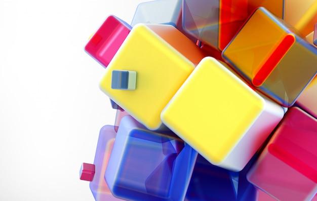 Composizione in arte 3d con figure geometriche, cubi o scatole grandi e piccoli
