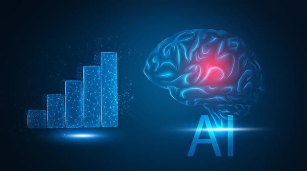 Intelligenza artificiale 3d e grafico di crescita