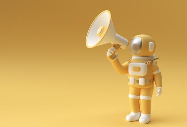 L'astronauta 3d chiede un annuncio di vendita 3d render flyer poster art design illustration.