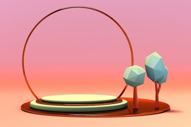 Scena autunnale 3d con composizione geometrica podio vuoto e alberi per la presentazione del prodotto