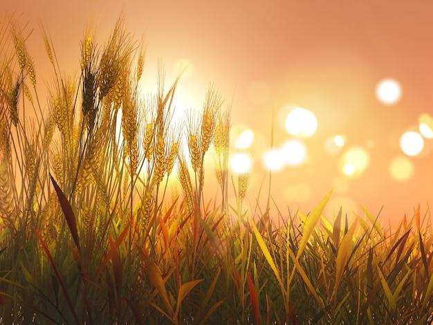 Grano autunnale 3d contro il cielo al tramonto