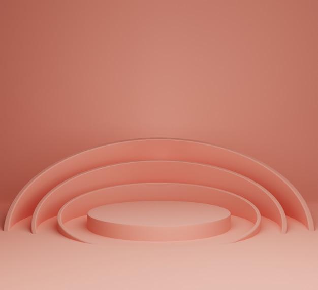 Illustrazione di sfondo 3d semplice e moderno astratto palcoscenico rosa