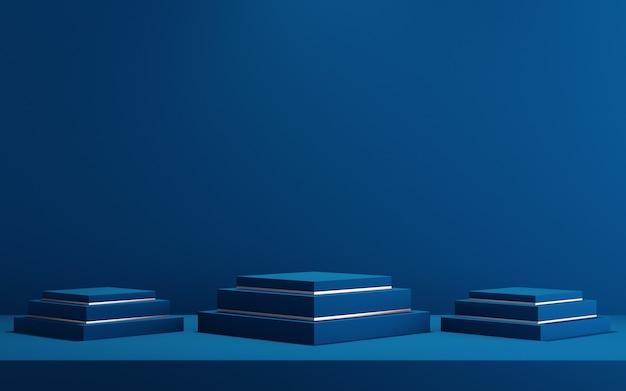 Sfondo 3d per mock up podio per la presentazione del prodotto, sfondo blu, rendering 3d