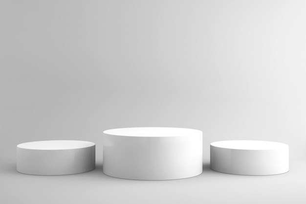 Sfondo 3d per mock up podio per la presentazione del prodotto, sfondo bianco, rendering 3d