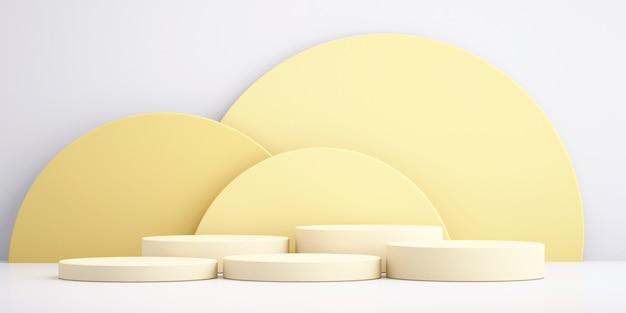 Sfondo 3d per mock up podio giallo per la presentazione del prodotto, sfondo giallo, rendering 3d