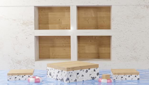Sfondo 3d che rende la vista del cubo del gradino del podio in marmo con pareti di marmo nel mezzo di acqua limpida