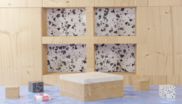 Sfondo 3d che rende la vista del cubo del gradino del podio in marmo con pareti di legno nel mezzo di acqua limpida