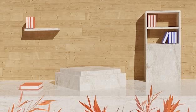 Sfondo 3d che rende la vista del podio in marmo con una libreria sul lato e ci sono foglie di scuola