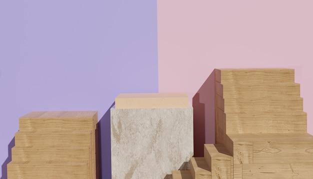 Sfondo 3d che rende la vista del podio in marmo con le scale tutt'intorno foto premium