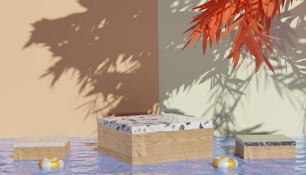 Sfondo 3d che rende il podio moderno minimale in marmo e cubo di legno nel mezzo di acqua limpida