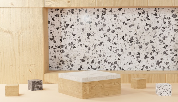 Sfondo 3d che rende il podio moderno minimale in marmo e cubo di legno