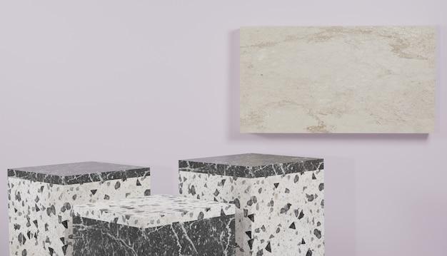 Sfondo 3d che rende il podio moderno minimale in terrazzo bianco